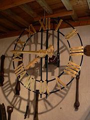 Church tower clock - from Tellin's Musée de la cloche et du carillon - Courtesy Nieuw/Wikimedia Commons, Creative Commons Attribution-Share Alike 3.0 Unported