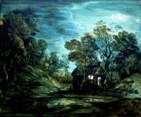 Thomas Gainsborough (RA) 'Wooded Moonlight Landscape with Pool and Figure at the Door of a Cottage' Great Britain About 1781 (courtesy V&A Museum)