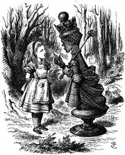 """Illustration by John Tenniel of the Red Queen lecturing Alice for Lewis Carroll's """"Through The Looking Glass, Courtesy of the Wikimedia Commons"""